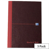 Black n Red A5 A-Z Book H67197 Casebound Indexed 192 Pages Pack 5