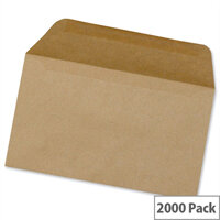 5 Star Office Envelopes Recycled Lightweight Wallet Gummed 75gsm Manilla 89x152mm Pack 2000
