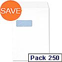 C4 Window White Envelopes Pocket  Press Seal 90gsm 5 Star (Pack 250)