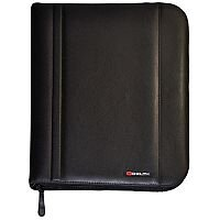 Monolith 2754 Zip-Fastening Folio Case A4 Black - Central 4 ring binder - Organiser and Pockets Section - Smart leather-look - Designated space to store and protect a tablet computer