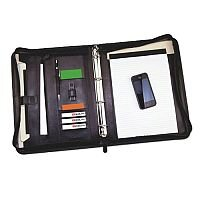 Monolith Black Leather Zipped Conference Folder