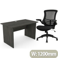 Home Office Ashford Desk W1200xD700mm 25mm Desktop Panel Legs Carbon Walnut & Executive High Back Mesh OP Office Chair - Stylish Design & Great Comfort