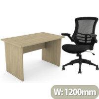 Home Office Ashford Desk W1200xD700mm 25mm Desktop Panel Legs Urban Oak & Executive High Back Mesh OP Office Chair - Stylish Design & Great Comfort