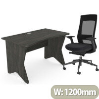 Home Office Medici Desk W1200xD700mm 25mm Desktop & Legs Carbon Walnut & X.22 Posture Office Chair with Unique Mesh Back And Adjustable Lumbar Support Black