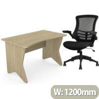 Home Office Medici Desk W1200xD700mm 25mm Desktop & Legs Urban Oak & Executive High Back Mesh OP Office Chair - Stylish Design & Great Comfort