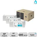 Hewlett Packard No83 UV 3 Ink Multi-Pack Inkjet Cartridge Cyan C5073A