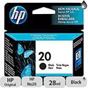 Hewlett Packard No20 Inkjet Cartridge 28ml for FAX925Xi Black C6614DE