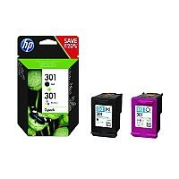 HP 301 Black/Colour Ink Cartridges Twin Pack – Standard Capacity, Black: Approx 190 Page Yield, Colour: Approx 165 Page Yield, Compatible With Deskjet & Envy Printers & Eco-Friendly (N9J72AE)