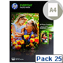 HP A4 Everyday Photo Glossy Paper 200gsm White (Pack of 25)