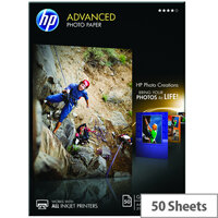 HP A4 Advanced Glossy Photo Paper 250gsm (Pack of 50)