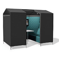 Frovi HUDDLE SHED 4 Seater Meeting Pod With Media With Chrome Feet H1850xW2280xD1360mm 440mm Seat Height - Fabric Band B