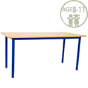 Rectangular Primary School Table Beech Blue Legs 1200x600x650mm
