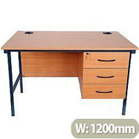 Teachers Desk With 3 Drawer Fixed Pedestal 1200x700x720mm
