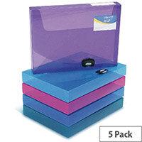 Rapesco Rigid Box File Polypropylene 40mm 1048 Assorted Pack of 5