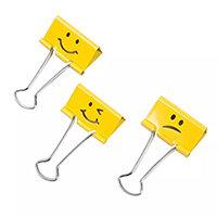 Rapesco Emoji Foldback Clips 32mm Yellow Pack of 20 1354