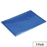 Rapesco Popper Wallet Foolscap Bright Blue Pack of 5 0687