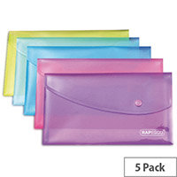Rapesco Popper Wallet DL Pack of 5 Assorted 0690