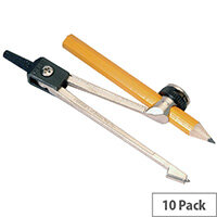 Helix Black/Silver Metal Compass And Pencil Pack of 10 G05070