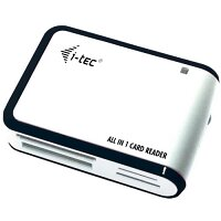 i-tec USB 2.0 Multicard Reader HighSpeed for SD Cards, MMC Cards - High Speed Data Transfer With up to 480 Mbit/s, USB Powered, Colour: White & Black