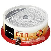 Sony DVD-R 16x - 4.70 GB - 25 Pack Spindle - Bulk - 120mm - 2 Hour Maximum Recording Time