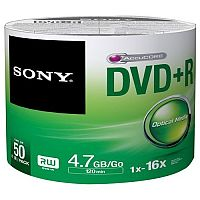Sony DVD Recordable Media DVD+R 16x 4.70 GB 50 Pack Spindle Bulk 120mm 2 Hour Maximum Recording Time