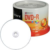 Sony DVD Inkjet Printable Recordable DVD-R 16x 4.70 GB Spindle 120mm (Pack of 50)