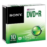 Sony DVD Recordable Media - DVD+R - 16x Slim Case - Retail (Pack of 10)