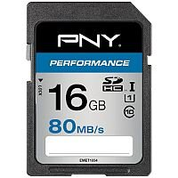 PNY Performance 16 GB Class 10/UHS-I SDHC - 80 MB/s Read - 20 MB/s Write