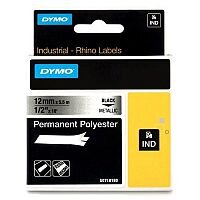 Dymo 18761 Multipurpose Label Permanent Adhesive 12 mm Width x 5.50 m Length Rectangle Thermal Transfer Metallic Polyester 1 Roll