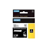 Dymo Label Tape Permanent Adhesive 9 mm Width x 5.50 m Length Rectangle Black on Transparent Polyester