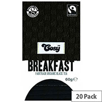 Cosy Breakfast Organic Tea 20 Individually Foil Wrapped Tea Bags - 20 Bags Per Pack