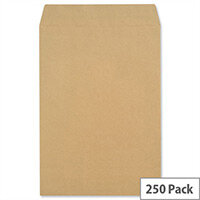 New Guardian Pocket Envelopes 381x254mm 130gsm Manilla Self Seal Pack of 250