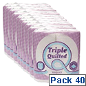 Star Luxury White 3-Ply Quilted Toilet Roll 10 Packs of 4 Toilet Paper Rolls TQ4PK