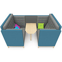 Frovi JIG CAVE 4 Seater Meeting Pod With Natural Oak Feet H1470xW2320xD1500mm 430mm Seat Height - Fabric Band B