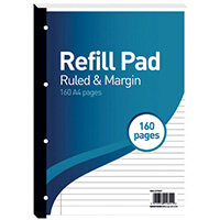 Hamelin 8mm Ruled/Margin Refill Pad A4 80 Sheet Pack of 5 400127657