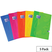 Oxford Touch Hardback Casebound Notebook A5 Assorted Pack of 5 400090108
