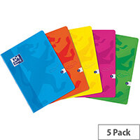 Oxford Touch Soft Cover Stapled Notebook A4 Assorted Pack of 5 400088258