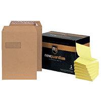 New Guardian C4 Window Envelope Manilla (Pack of 250) FOC Post-it Notes Yellow Pk6 JDF814006