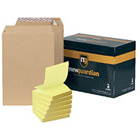 New Guardian C4 Envelope Peel and Seal Manilla (Pack of 250) FOC Post-it Notes Yellow Pk6 JDJ814007