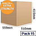 Double Wall Corrugated 599x510x410mm Brown Packing Cardboard Boxes (15 Pack)
