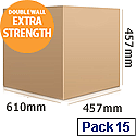 Double Wall Corrugated 610x457x457mm Brown Packing Cardboard Boxes (15 Pack)