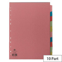 Concord Subject Dividers 10-Part A4 10 Colours