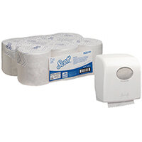 Scott Control 1Ply White Hand Towel Roll 250m Pack of 6 FOC Aquarius Hand Towel Dispenser KC832090