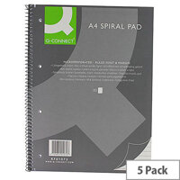 Q-Connect Spiral Pad Executive A4+ 80 Leaf Ruled Feint and Margin 5 Pack