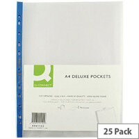 Q-Connect Punched Pocket A4 Deluxe Top-Opening Blue Strip 75 Micron Pack of 25 KF01122
