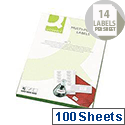 Q-Connect 14 Per Sheet Fluorescent Yellow Multi-Purpose Labels (1400 Labels)