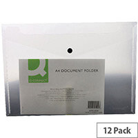 A4 Envelope Wallet Plastic Transparent Clear Pack 12 Q-Connect