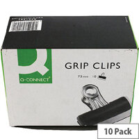 Q-Connect Grip Clip 75mm Black (Pack of 10)