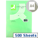A4 Bright Green Coloured Copier Paper 80gsm  Ream Q-Connect