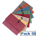 Document Wallets Half Flap Foolscap Assorted Colours Pack 50 Q-Connect